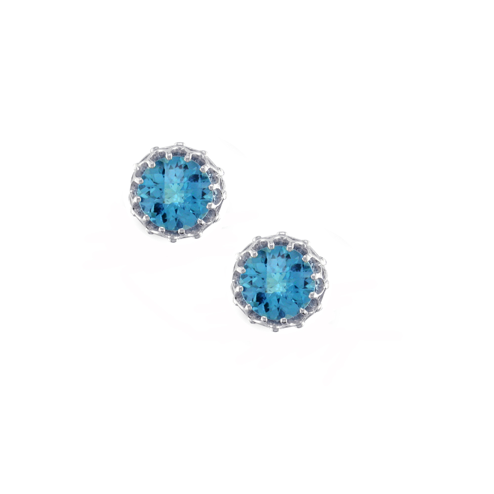 Stunning White Gold Chequer-cut Blue Topaz Coronation Stud Earrings
