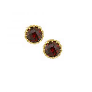 Yellow gold garnet stud earrings