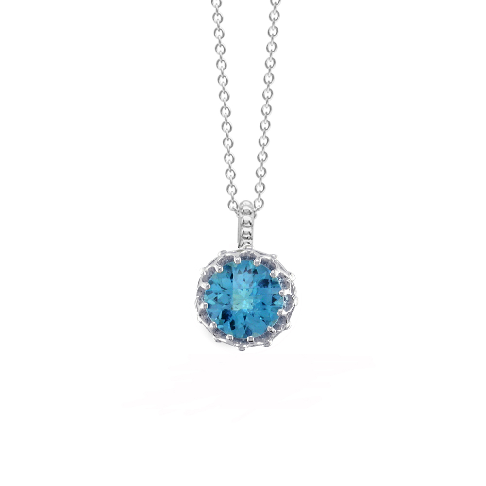 White gold blue topaz pendant