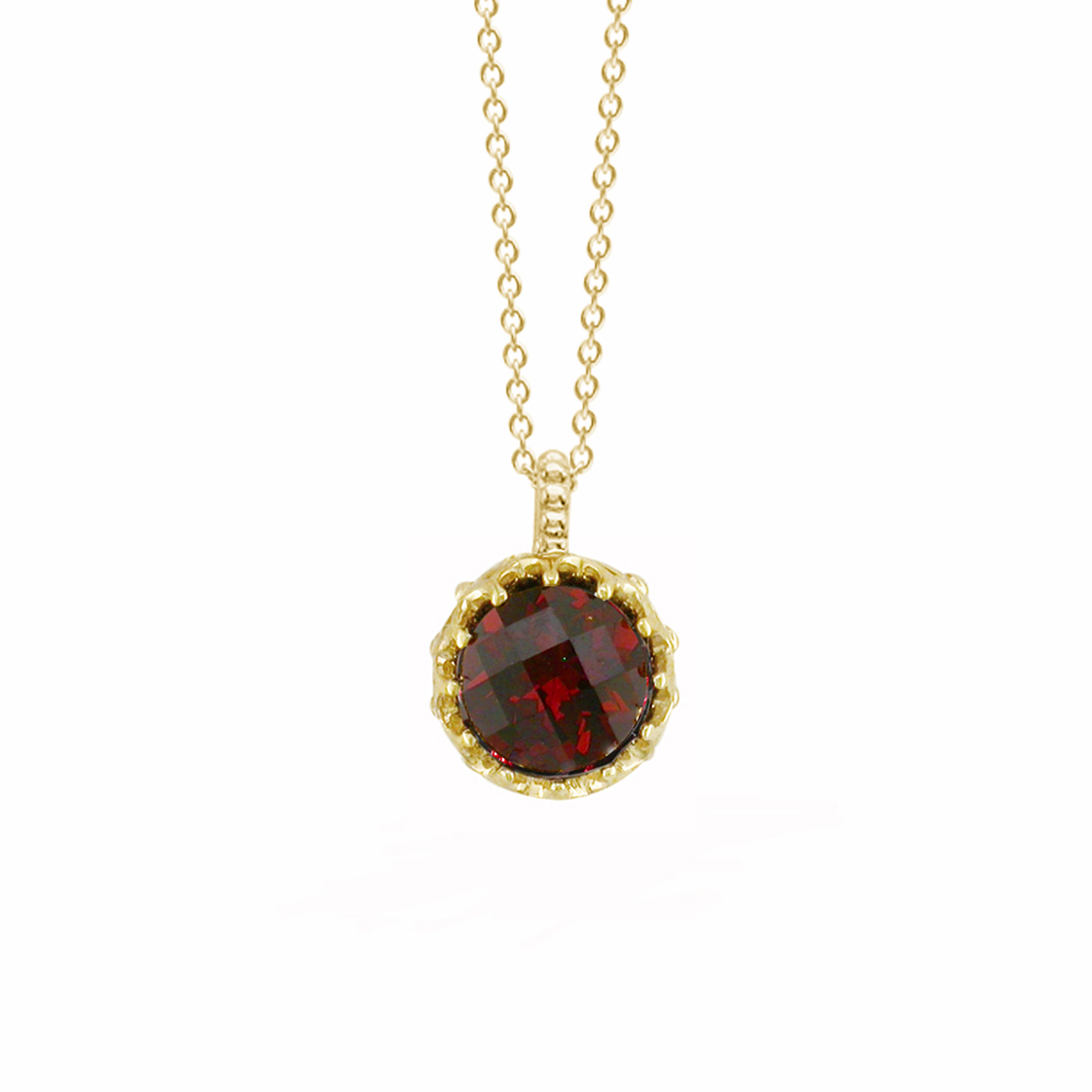 Stunning Yellow Gold Chequer-cut Garnet Coronation Pendant Necklace