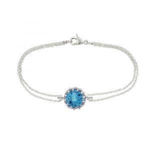 White gold blue topaz bracelet