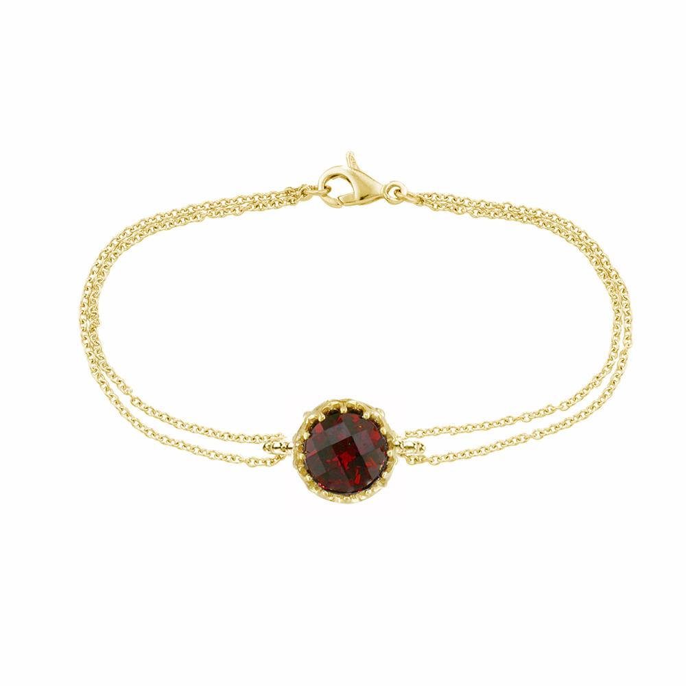 Stunning Yellow Gold Chequer-cut Garnet Coronation Bracelet