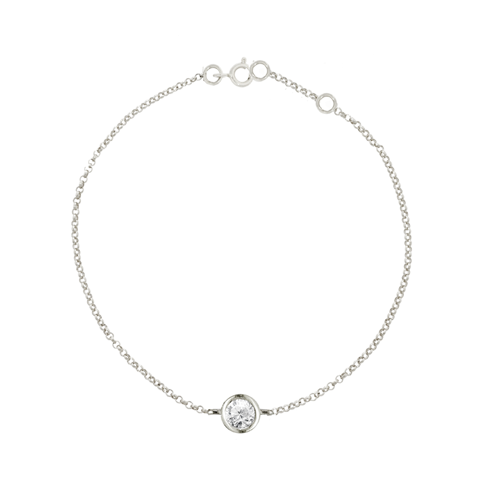 White gold diamond solitaire Raindrop bracelet