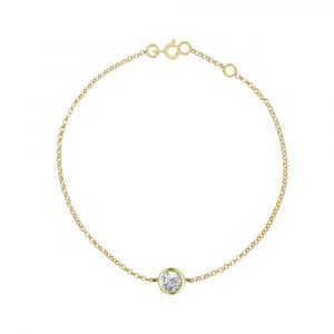 Solitaire diamond gold bracelet
