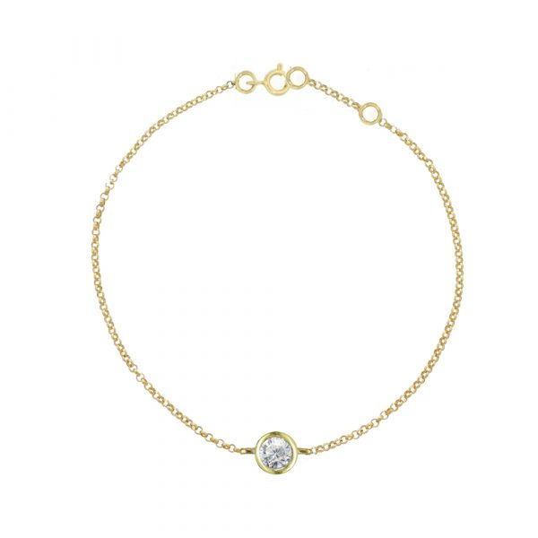 Solitaire diamond gold bracelet