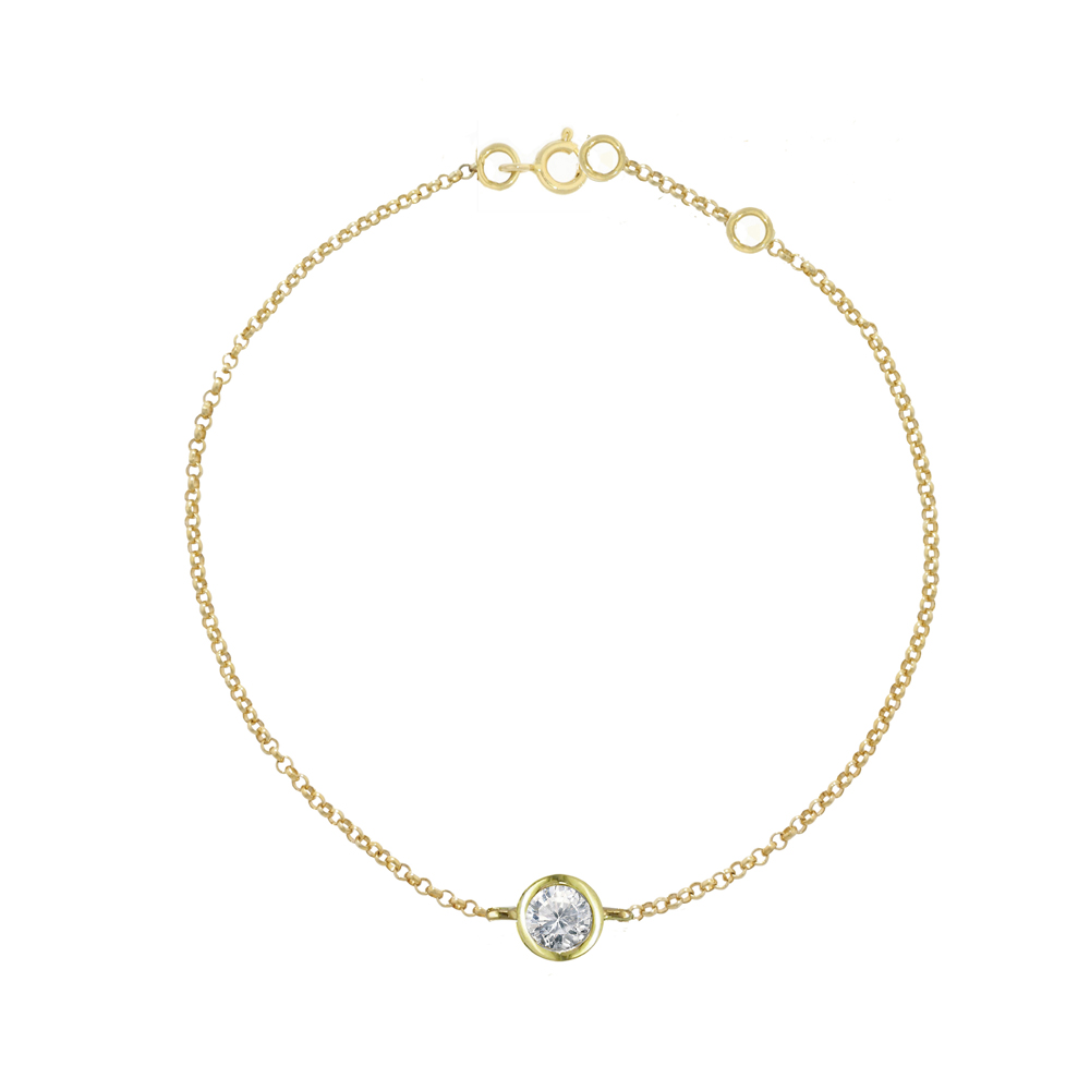 Yellow gold diamond solitaire Raindrop bracelet