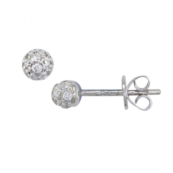 White gold diamond ball cluster earrings