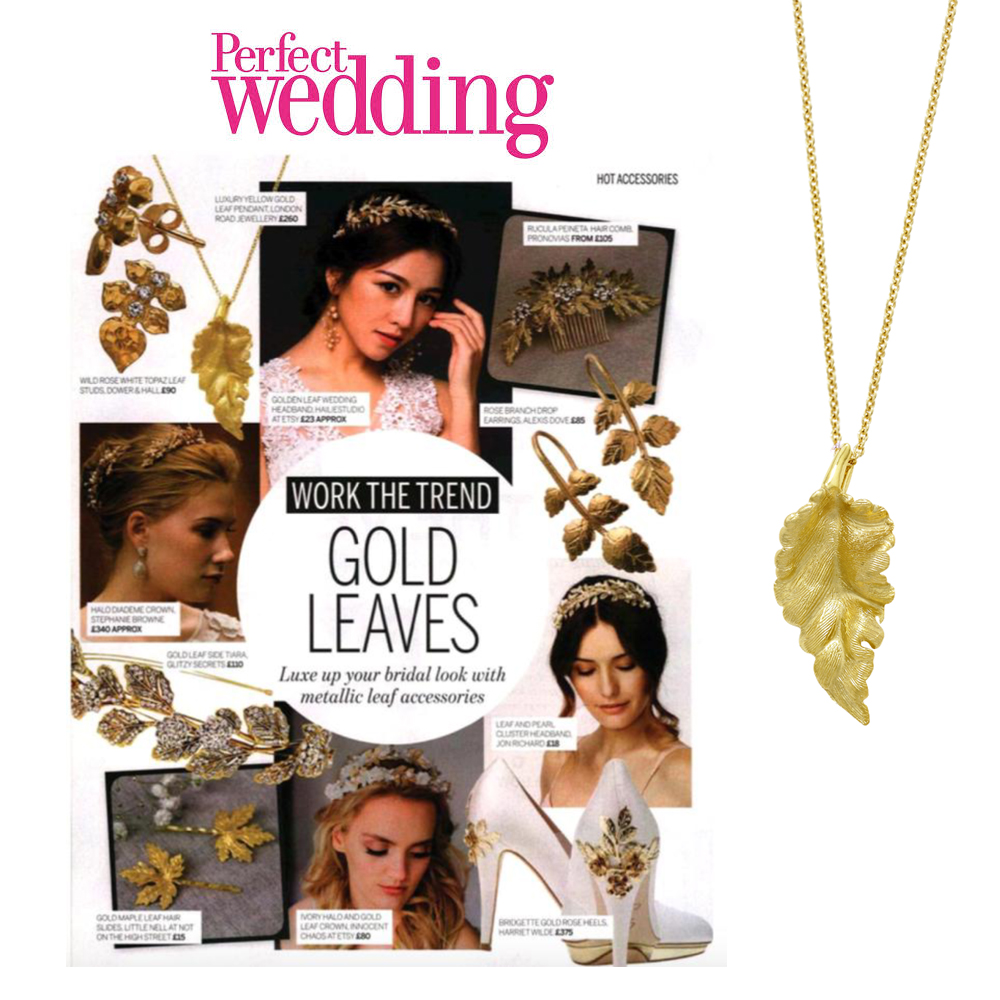 Yellow gold Kew golden leaf pendant