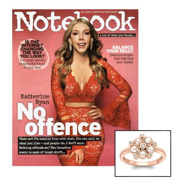 Rose gold diamond moonstone Bubble cluster ring