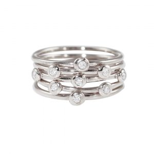 White gold diamond five stack rings