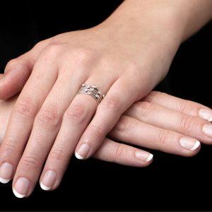 White gold diamond stacking rings