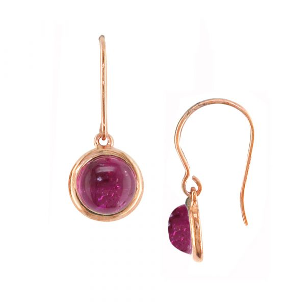 Rose gold pink tourmaline Bubble drop earrings