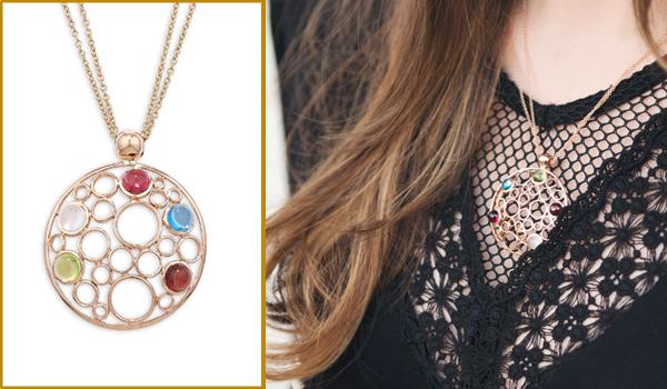 Rose gold multi gem Bubble pendant