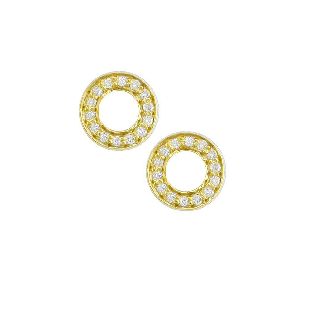Yellow gold diamond Meridian circle earrings