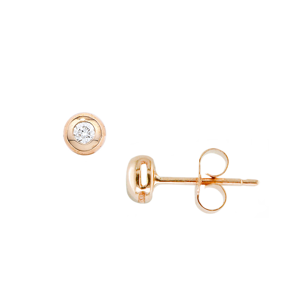 Rose gold diamond solitaire earrings - side