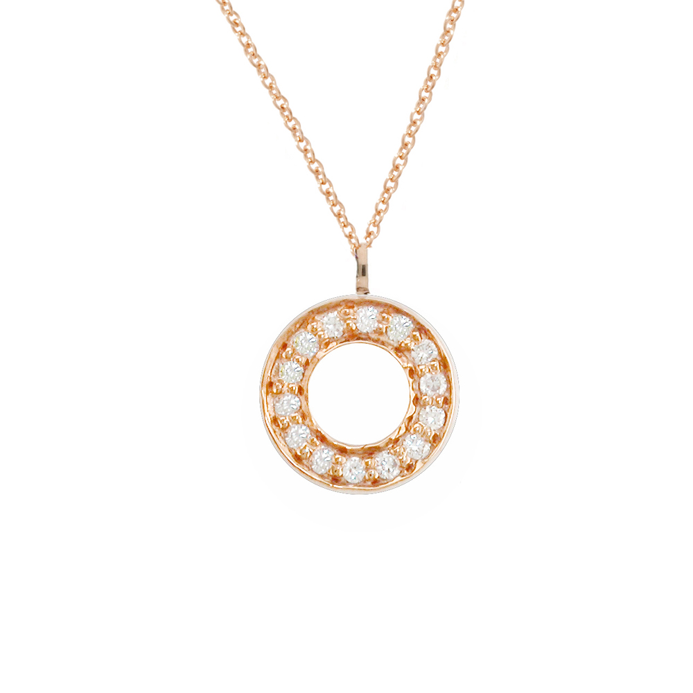 Stunning Rose Gold Diamond Circle Meridian Pendant