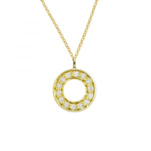 Yellow gold diamond Meridian circle pendant