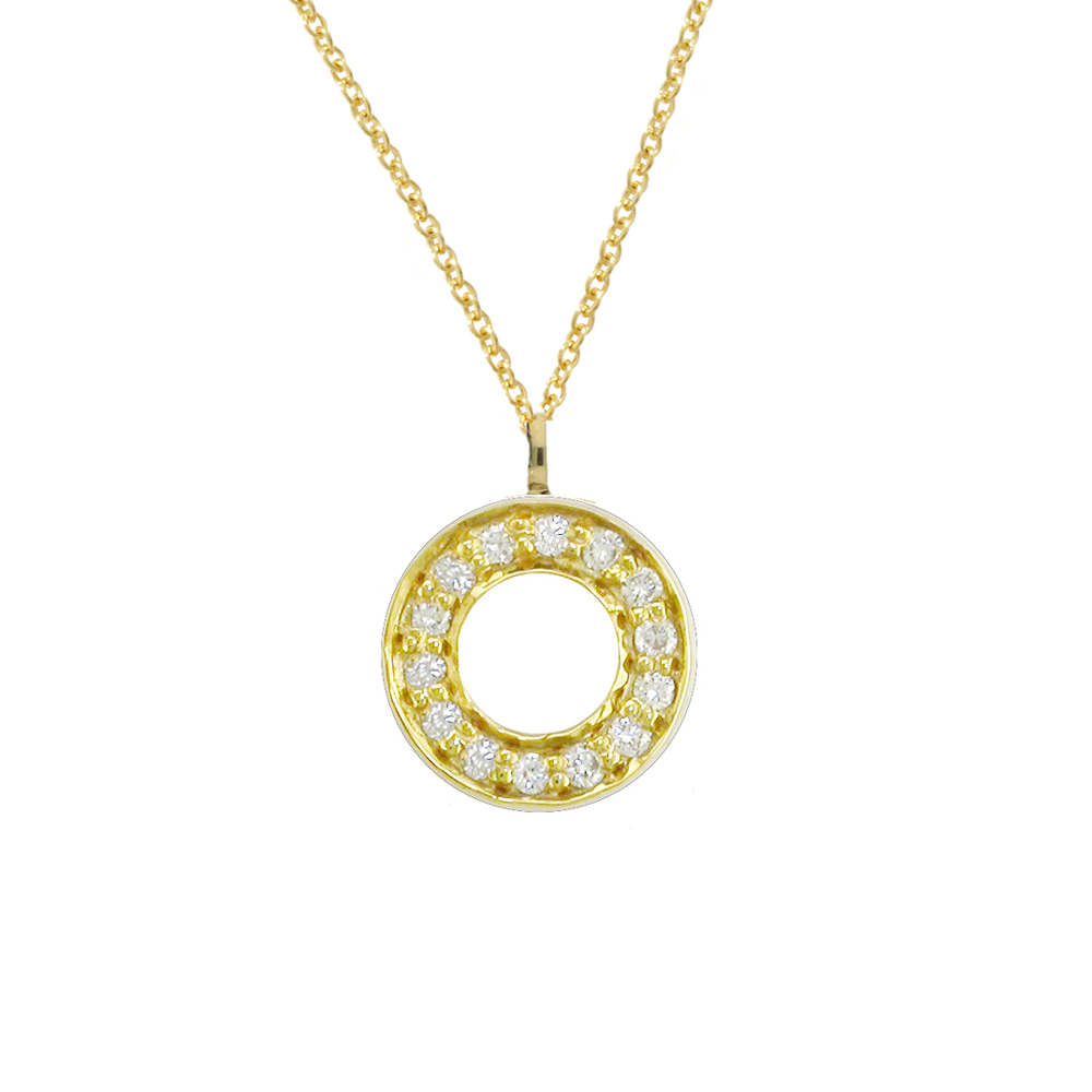 Stunning Yellow Gold Diamond Circle Meridian Pendant