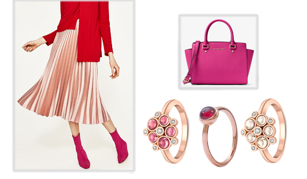 Rose gold garnet, diamond pink tourmaline rings