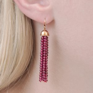 Rose gold garnet tassel drop earrings