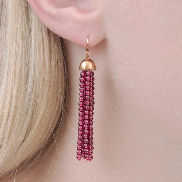 Rose gold garnet tassel drop earrings