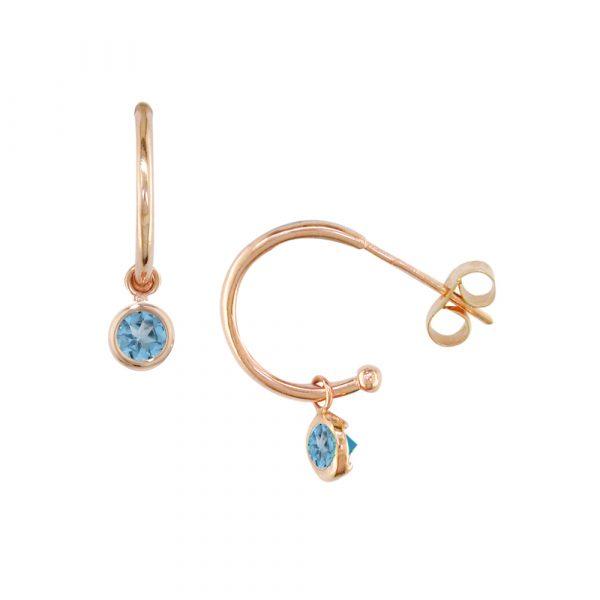 Rose gold blue topaz hoop earrings