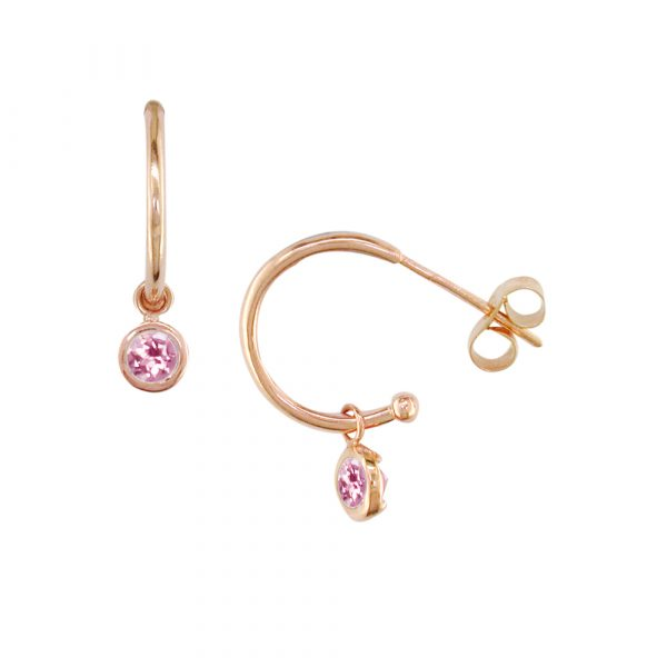 Rose gold pink tourmaline hoop earrings