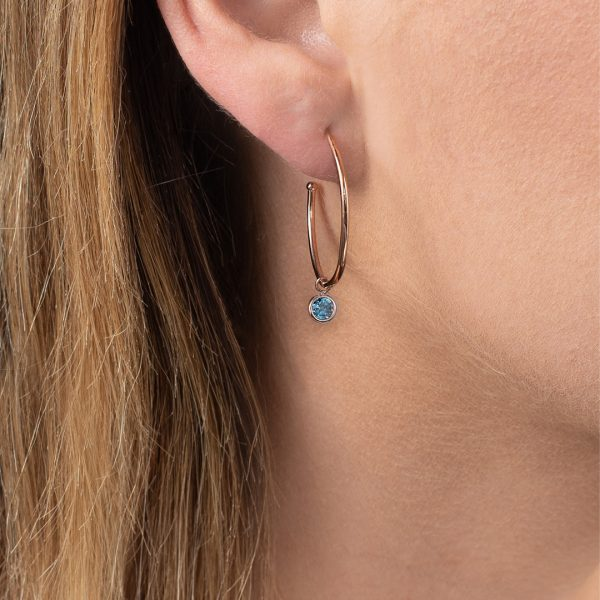 Rose gold blue topaz Dew Drop hoop earrings