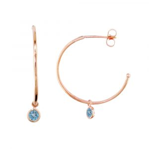 Rose gold blue topaz hoop earrings