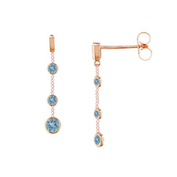 Rose gold blue topaz drop earrings