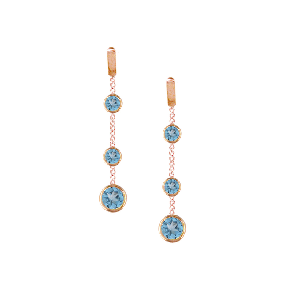 Stylish Rose Gold Blue Topaz Dew Drop Earrings
