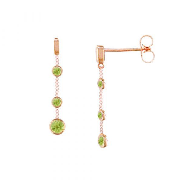 Rose gold peridot drop earrings