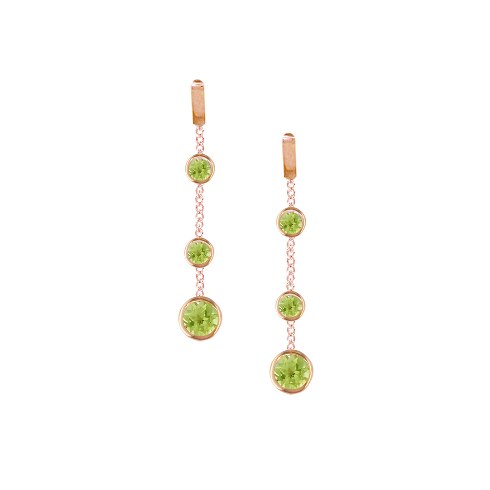 Rose gold peridot drop earrings