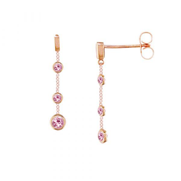 Rose gold pink tourmaline drop earrings