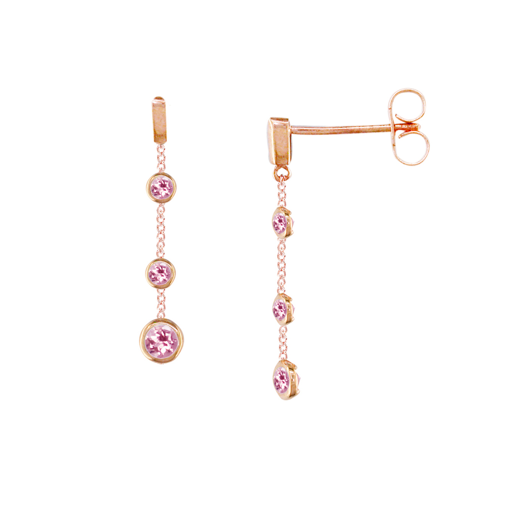 Rose gold pink tourmaline drop earrings
