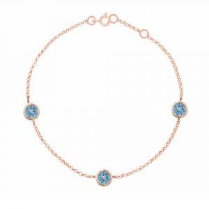 Rose gold blue topaz Dew Drop bracelet
