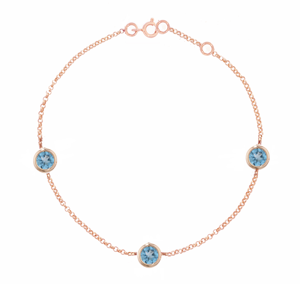 Rose gold blue topaz Dew Drop bracelet