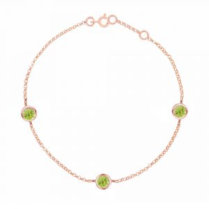 Rose gold peridot Dew Drop bracelet