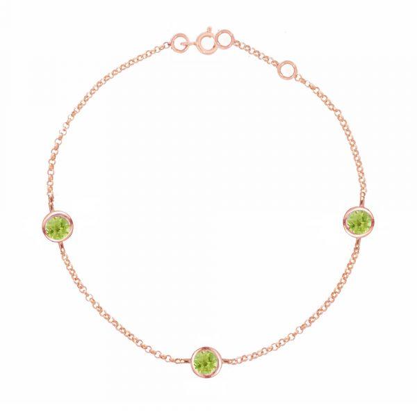 Rose gold peridot Dew Drop bracelet