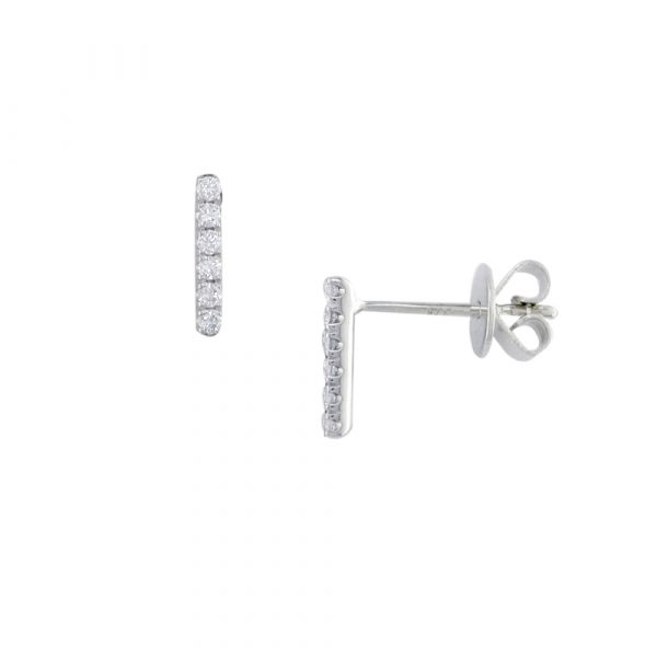 White gold diamond Geo bar earrings