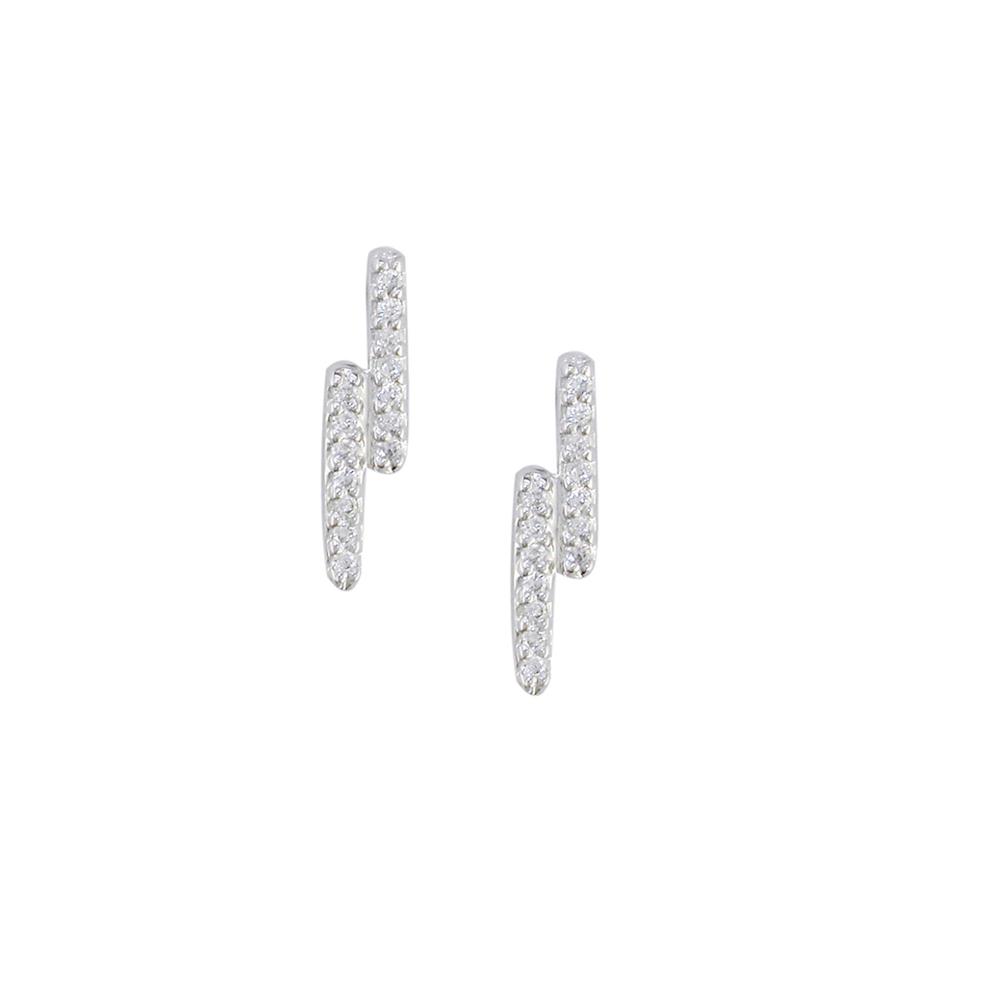 White gold diamond Geo zig zag earrings