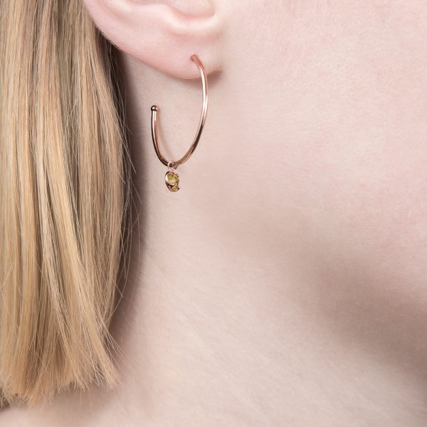 Rose gold peridot hoop Dew Drop earrings