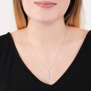 white gold double bar diamond Geo necklace