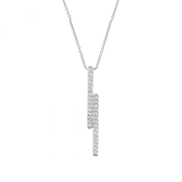 White gold Geo diamond pendant