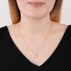 White gold diamond Geo necklace