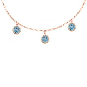 Rose gold blue topaz Dew Drop necklace