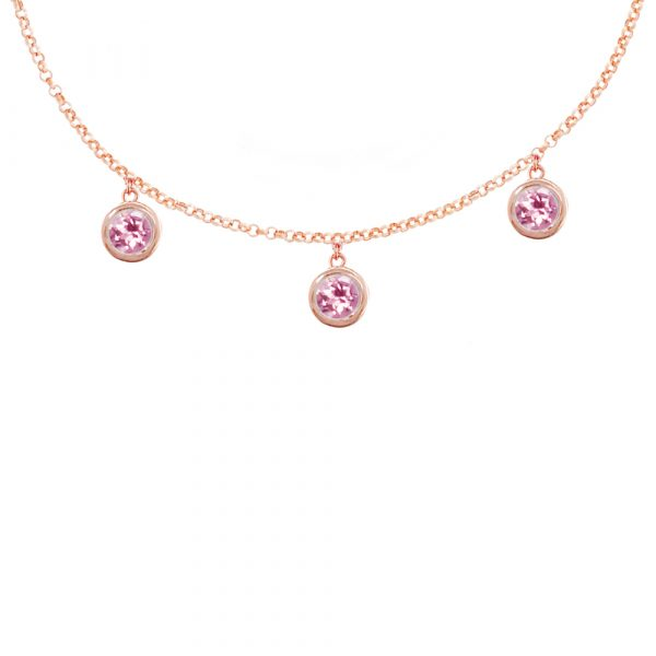 Rose gold pink tourmaline Dew Drop necklace