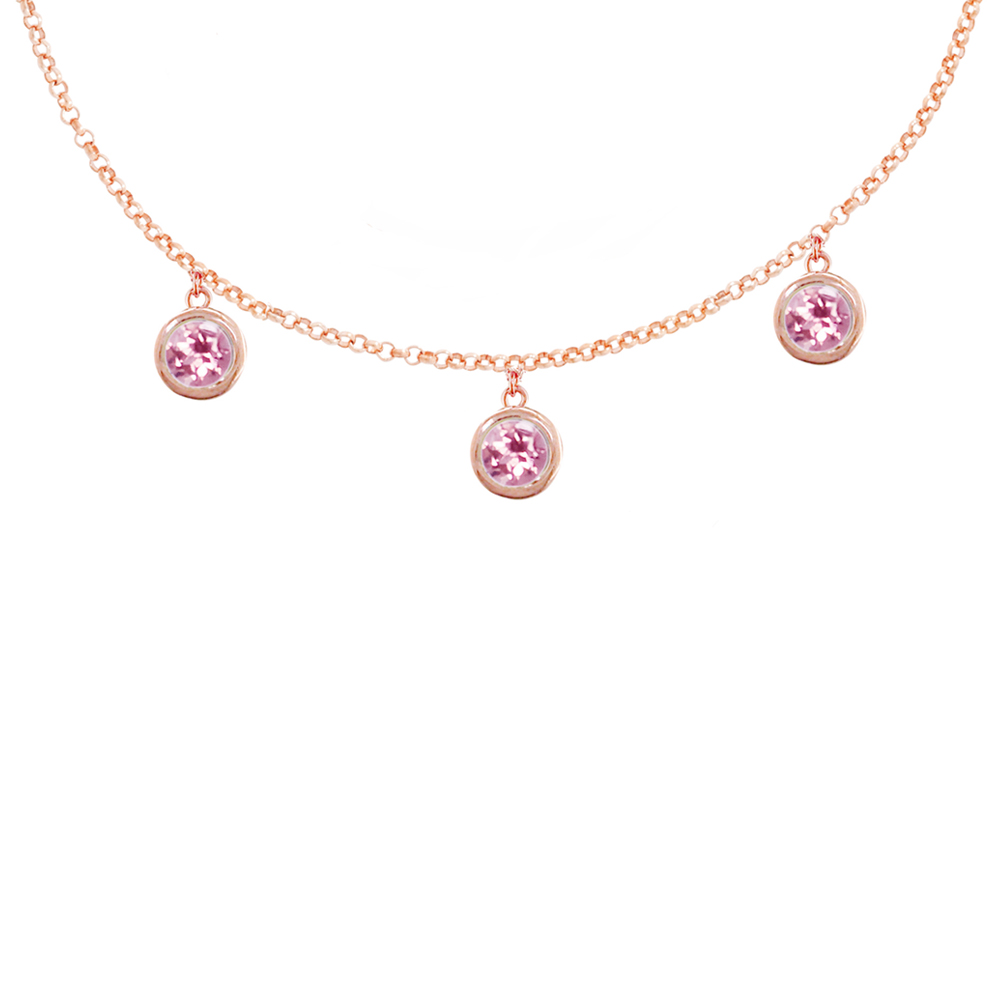 Stylish Rose Gold Blue Topaz Dew Drop Necklace