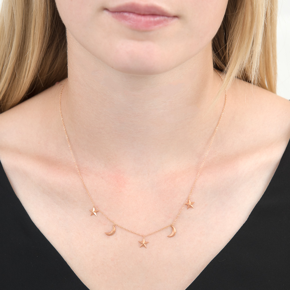 Rose gold moon star necklace