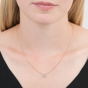 Rose gold blue topaz Raindrop necklace